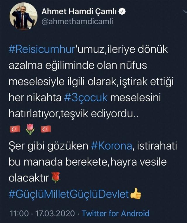 İşte  Ahmet Hamdi Çamlı'nın paylaşımı