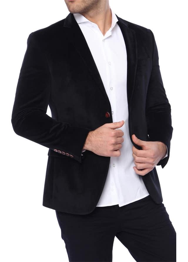 Erkek Lacivert Kadife Ceket