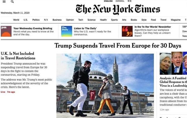 New York Times gazetesi Türkiye'yi manşetten verdi