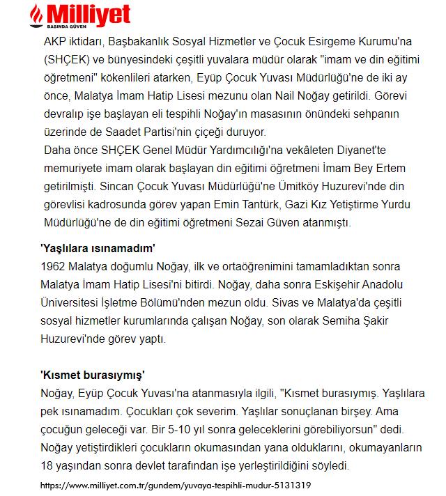 """Milliyet'in """"İmam Hatipli Müdür"""" Haberi - 25.12.2003"""