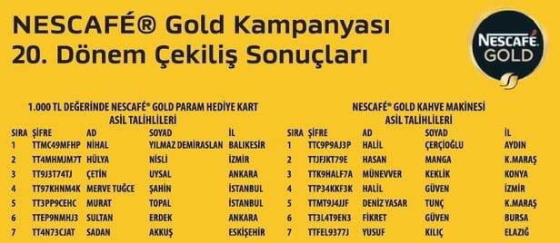 Nescafe Gold Param hediye kartı kazananlar ve Nescafe Gold kahve makinesi kazananlar listesi