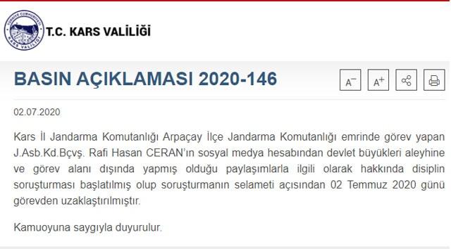 Jandarma Başçavuş Rafi Hasan Ceran görevden uzaklaştırıldı