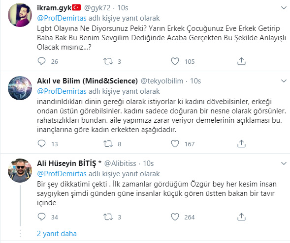 Prof. Özgür Demirtaş'ın paylaşımına gelen tepkiler şöyle: