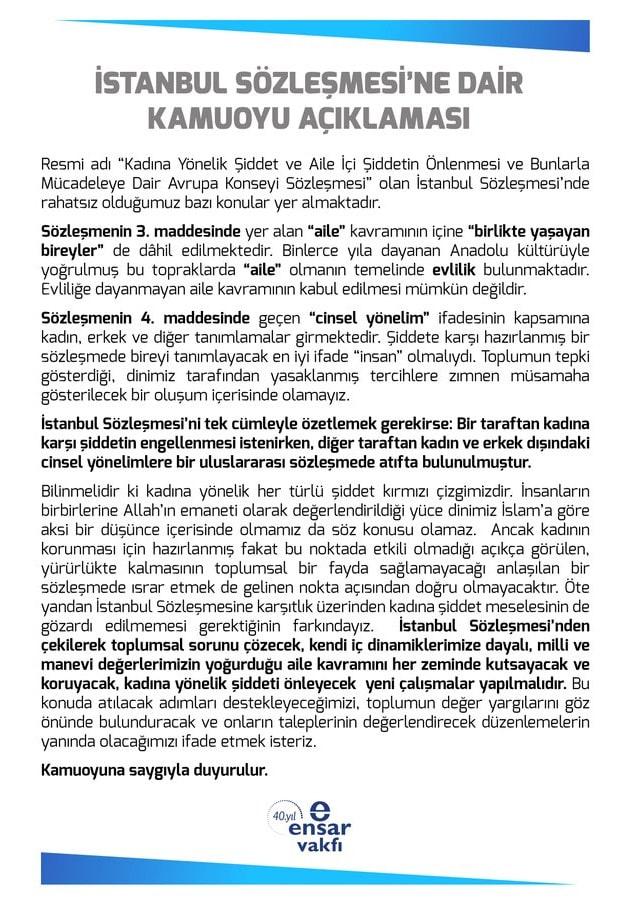 Ensar Vakfı'nın İstanbul Sözleşmesi
