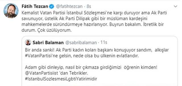 Fatih Tezcan bununla da kalmayıp İstanbul Sözleşmesi'ni savunanlara küfür etti.